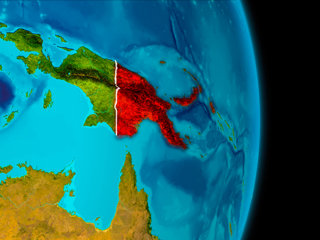 Papua New Guinea in red on planet Earth with visible borderlines. 3D illustration.