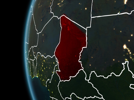 Orbit view of Chad highlighted in red with visible borderlines and city lights on planet Earth at night. 3D illustration.