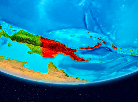Papua New Guinea from orbit of planet Earth. 3D illustration.