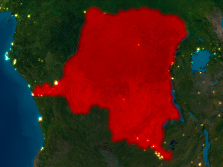 Satellite night view of Democratic Republic of Congo highlighted in red on planet Earth. 3D illustration. Stock Photo