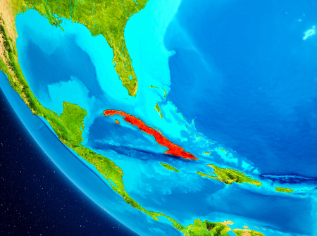 Cuba highlighted in red on planet Earth. 3D illustration. 写真素材