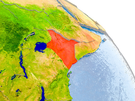 Illustration of Kenya highlighted in red on glob with realistic surface with visible country borders, and water in the oceans. 3D illustration.