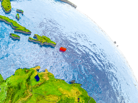 Illustration of Puerto Rico highlighted in red on glob with realistic surface with visible country borders, and water in the oceans. 3D illustration.