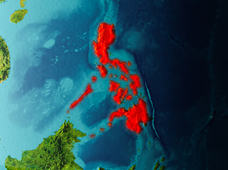 Philippines in early morning light highlighted in red on planet Earth. 3D illustration. Stock Photo
