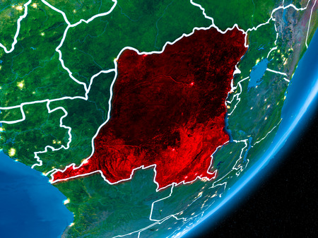 Democratic Republic of Congo in red on planet Earth at night with visible borderlines and city lights. 3D illustration. Stock Photo