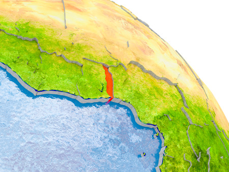 Illustration of Togo highlighted in red on glob with realistic surface with visible country borders, and water in the oceans. 3D illustration.