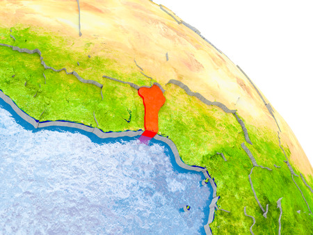 Illustration of Benin highlighted in red on glob with realistic surface with visible country borders, and water in the oceans. 3D illustration.