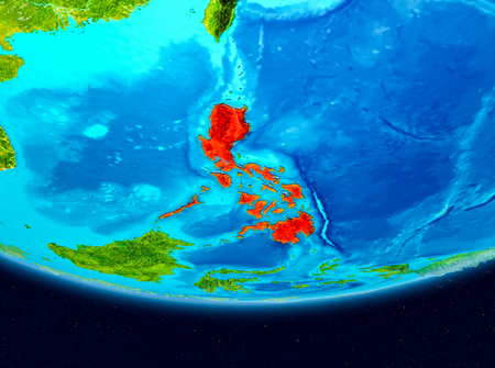 Philippines from orbit of planet Earth. 3D illustration.