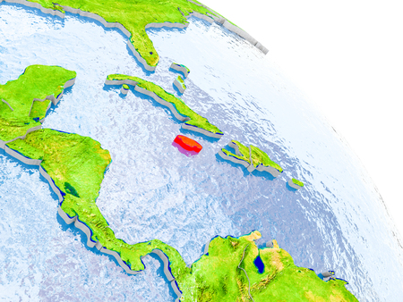 Illustration of Jamaica highlighted in red on glob with realistic surface with visible country borders, and water in the oceans. 3D illustration.