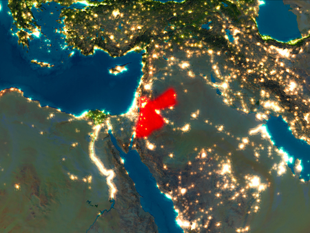 Satellite night view of Jordan highlighted in red on planet Earth. 3D illustration.