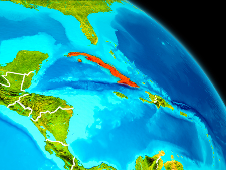 Space orbit view of Cuba highlighted in red on planet Earth with visible borders. 3D illustration.