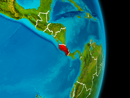 Costa Rica in red on planet Earth with visible borderlines. 3D illustration. Stock Photo
