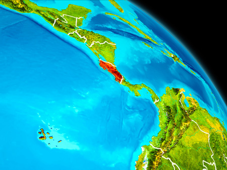 Space orbit view of Costa Rica highlighted in red on planet Earth with visible borders. 3D illustration.