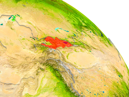 Illustration of Kyrgyzstan highlighted in red on glob with realistic surface with visible country borders, and water in the oceans. 3D illustration. Stock Photo
