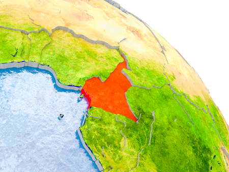 Illustration of Cameroon highlighted in red on glob with realistic surface with visible country borders, and water in the oceans. 3D illustration.