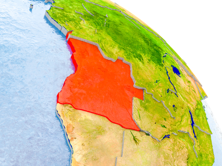 Illustration of Angola highlighted in red on glob with realistic surface with visible country borders, and water in the oceans. 3D illustration.