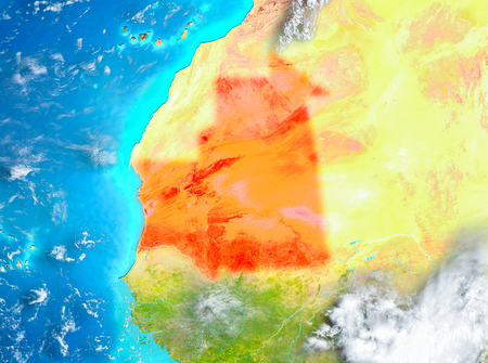 Mauritania highlighted in red on planet Earth. 3D illustration.