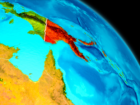 Space orbit view of Papua New Guinea highlighted in red on planet Earth with visible borders. 3D illustration.