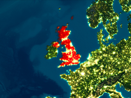 Satellite night view of United Kingdom highlighted in red on planet Earth. 3D illustration.