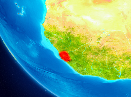 Sierra Leone highlighted in red on planet Earth. 3D illustration.