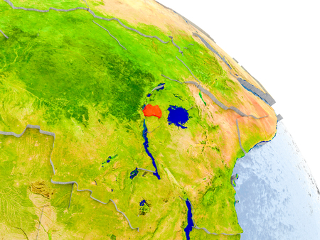 Illustration of Rwanda highlighted in red on glob with realistic surface with visible country borders, and water in the oceans. 3D illustration. Stock Photo
