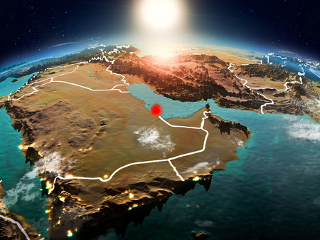 Sunrise above Qatar highlighted in red on model of planet Earth in space with visible country borders. 3D illustration.