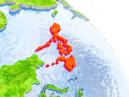 Illustration of Philippines highlighted in red on glob with realistic surface with visible country borders, and water in the oceans. 3D illustration. Stock Photo