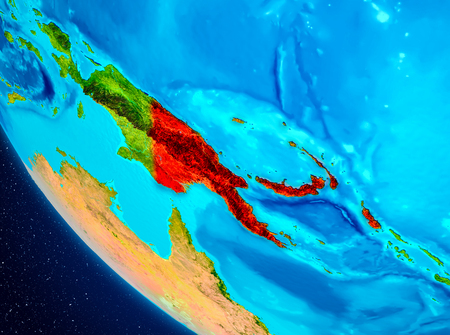 Papua New Guinea highlighted in red on planet Earth. 3D illustration. Stock Illustration - 99691873