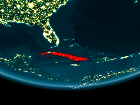 Cuba at night highlighted in red on planet Earth. 3D illustration. 写真素材