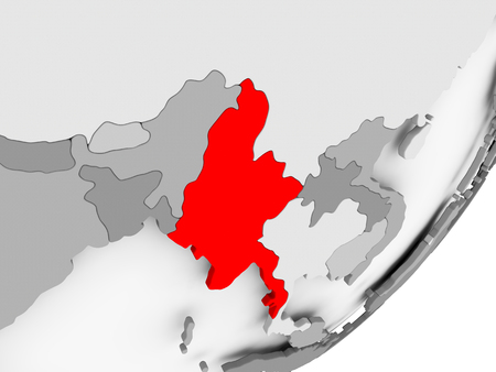 Illustration of Myanmar highlighted in red on grey globe. 3D illustration. Stock Photo