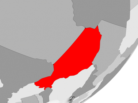 Illustration of Niger highlighted in red on grey globe. 3D illustration.