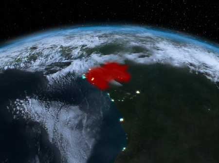 Satellite night view of Gabon highlighted in red on planet Earth with clouds. 3D illustration. Stock Photo