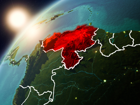 Venezuela during sunset highlighted in red on planet Earth with visible country borders. 3D illustration.