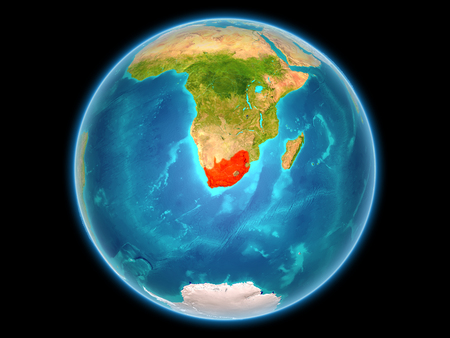 South Africa in red on planet Earth as seen from space on full sphere. 3D illustration. 스톡 콘텐츠