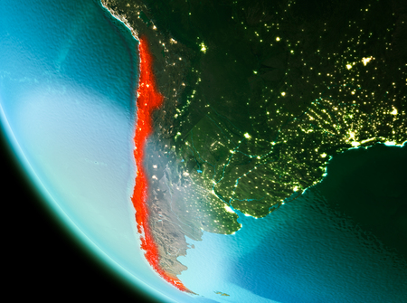 Country of Chile in red on planet Earth in the evening. 3D illustration.