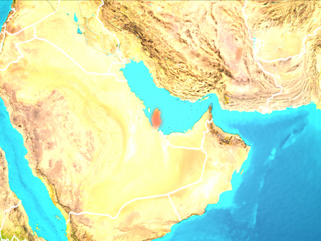 Qatar highlighted in red from Earth's orbit. 3D illustration. Stock Photo