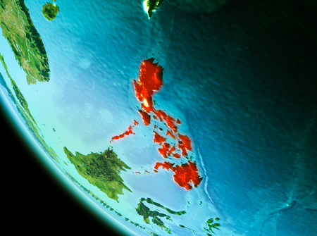 Country of Philippines in red on planet Earth in the evening. 3D illustration.