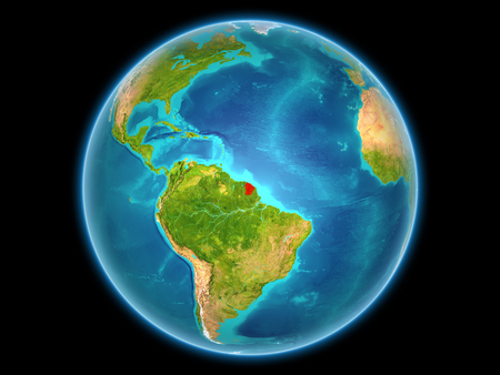 French Guiana in red on planet Earth as seen from space on full sphere. 3D illustration. Imagens