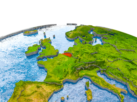 Belgium highlighted in red on globe with realistic land surface, visible country borders and water in place of oceans. 3D illustration.