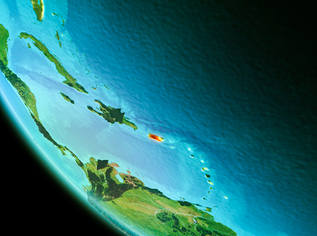 Country of Puerto Rico in red on planet Earth in the evening. 3D illustration.