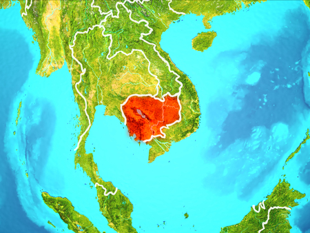 Cambodia highlighted in red from Earth's orbit. 3D illustration.