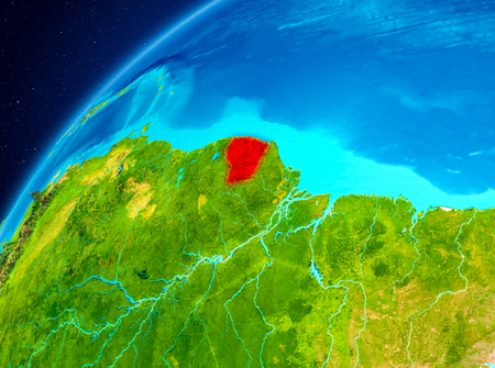 Orbit view of French Guiana highlighted in red on planet Earth. 3D illustration. Stock Photo