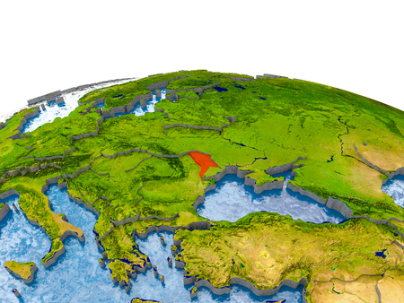 Moldova highlighted in red on globe with realistic land surface, visible country borders and water in place of oceans. 3D illustration.