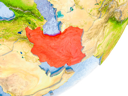 3D render of Iran on political globe with embossed countries with real land surface and water in place of ocean. 3D illustration.