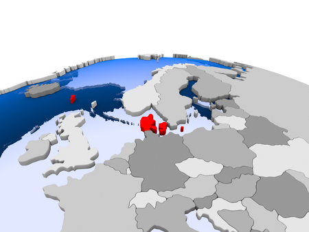 Denmark highlighted in red on political globe with transparent oceans. 3D illustration.