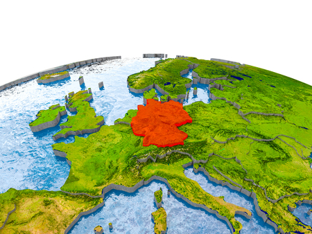Germany highlighted in red on globe with realistic land surface, visible country borders and water in place of oceans. 3D illustration.