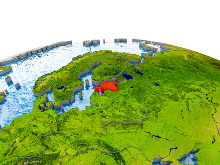 Estonia highlighted in red on globe with realistic land surface, visible country borders and water in place of oceans. 3D illustration.