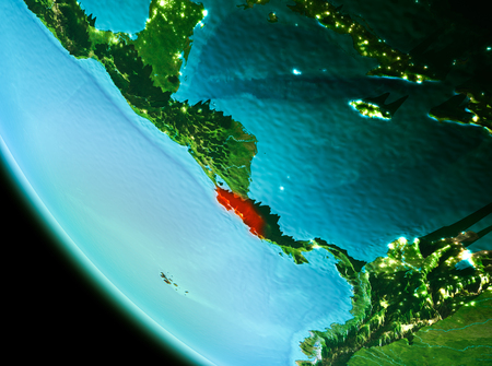 Country of Costa Rica in red on planet Earth in the evening. 3D illustration. Stock Photo