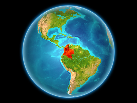 Colombia in red on planet Earth as seen from space on full sphere. 3D illustration. Reklamní fotografie