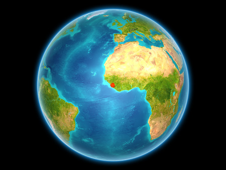 Sierra Leone in red on planet Earth as seen from space on full sphere. 3D illustration. Stock Photo